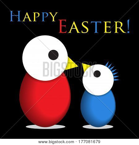 Easter greeting card - two red and blue chicken eggs with white heads and colored text in front of a black background