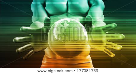 Hands Cradling Globe as a Business Technology Concept 3D Illustration Render