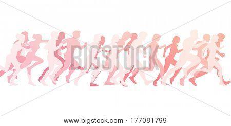 Marathon Run as an Illustration Concept Background on White 3D Illustration Render