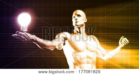 Disruptive Technology Discovery with Man Lifting an Invention Idea 3D Illustration Render