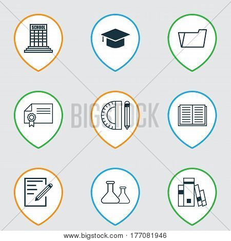 Set Of 9 Education Icons. Includes Opened Book, Diploma, Academy And Other Symbols. Beautiful Design Elements.