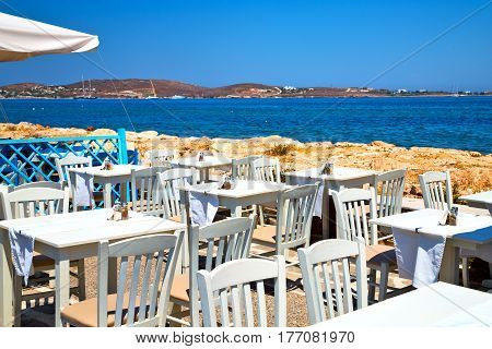 Table In Santorini Europe Greece Old Restaurant Chair And The Summer