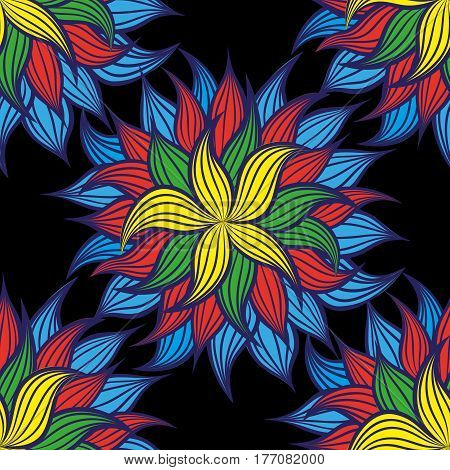 Amazing floral pattern with bright colorful flowers on a black background. The elegant the template for fashion prints.