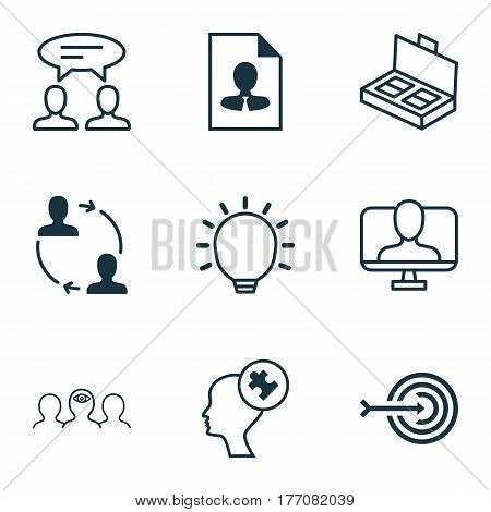 Set Of 9 Business Management Icons. Includes Great Glimpse, Coaching, Online Identity And Other Symbols. Beautiful Design Elements.