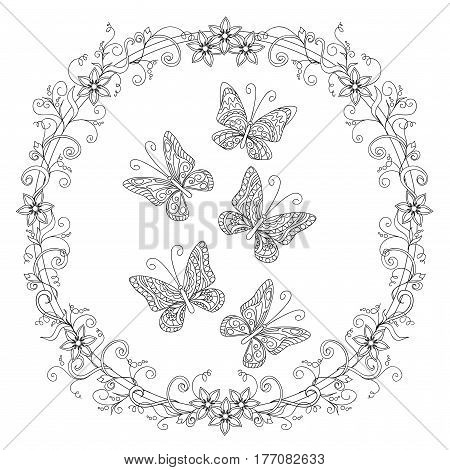 Hand drawn doodle composition with floral mandala and butterflies in zen style for invitation greeting card decorate stationary dishes porcelain ceramics adult coloring book. eps 10
