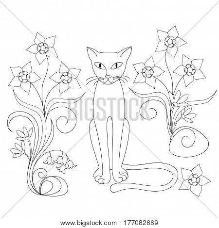 Hand drawn cartoon cat and flowers for decorate kids room dishes; cup; wall children coloring book illustration. eps 10