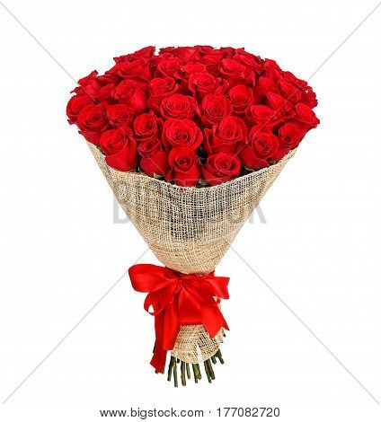 Flower bouquet of 50 red roses isolated on white background.