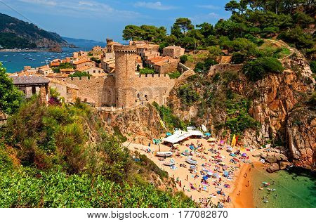 Medieval walled town Vila Vella and beach in Tossa de Mar, Catalonia, Spain
