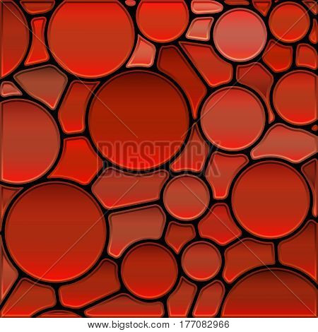 abstract vector stained-glass mosaic background - red circles
