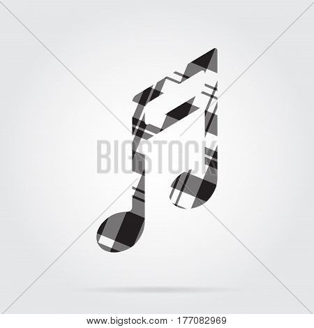 grayscale gray black isolated tartan icon with white stripes - musical note and shadow in front of a gray background