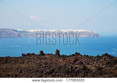 Volcanic Land In Europe Santorini Greece Sky And Mediterranean Sea