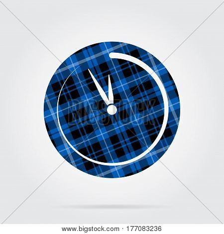 blue black isolated tartan icon with white stripes - last minute clock and shadow in front of a gray background