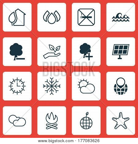 Set Of 16 Ecology Icons. Includes Aqua, Clear Climate, Sea Star And Other Symbols. Beautiful Design Elements.