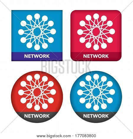 network icon set with interconnected nodes on abstract background