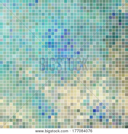 abstract vector square pixel mosaic background - blue and gray