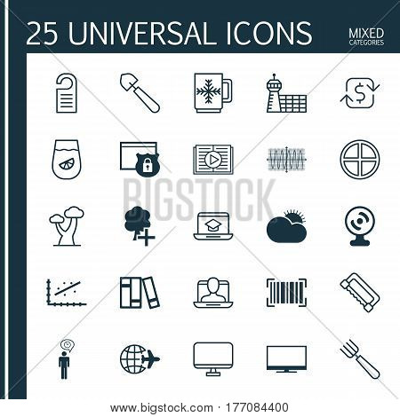 Set Of 25 Universal Editable Icons. Can Be Used For Web, Mobile And App Design. Includes Elements Such As Bookshelf, Taped Book, Planning And More.