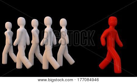 GOING OWN WAY. A red figure going the opposite way from the white figures. 3D render.