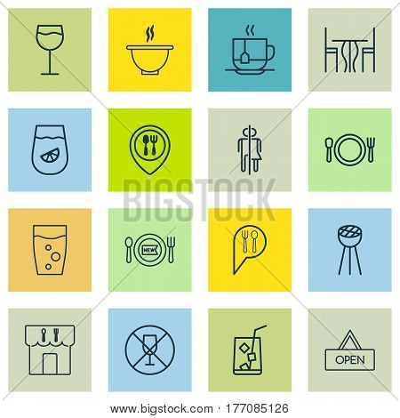 Set Of 16 Meal Icons. Includes Fresh Dining, Hot Drink, Restroom And Other Symbols. Beautiful Design Elements.