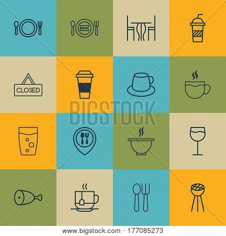 Set Of 16 Restaurant Icons. Includes Soda Drink, Coffee Cup, Cutlery And Other Symbols. Beautiful Design Elements.