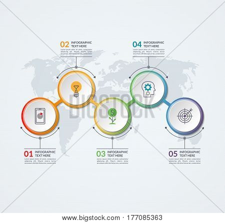 Infographic timeline design template of 5 circular elements on the world map background. Can be used for workflow layout, diagram, chart, report, plan, web, presentation