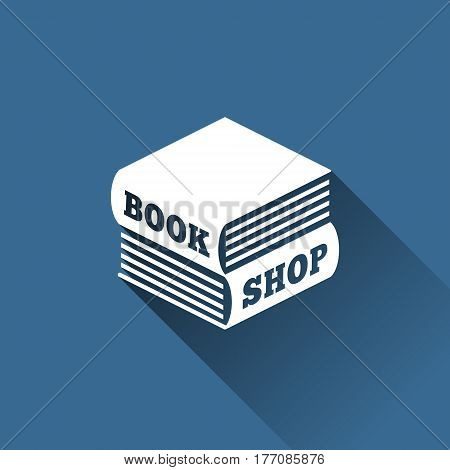 Logo design template in the form of two books lying on each other in a flat style. Vector illustration.