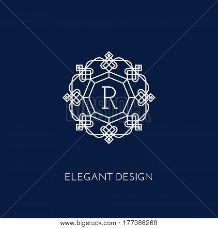 Simple and elegant monogram design template with letter R. Vector illustration.