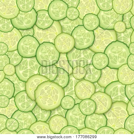 Seamless pattern of slices of cucumber. Vector Background. Round pieces of cucumber.