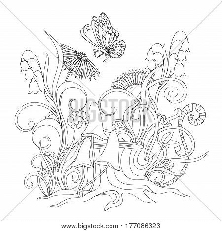 Hand drawn cartoon illustration with flowers stump and butterfly for decorate wall of kids room stationary children coloring book. eps 10
