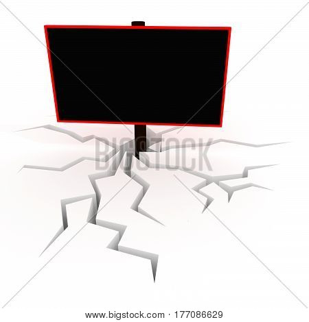 Creative 3D illustration of blank black billboard / banner / eye-catcher for your text.