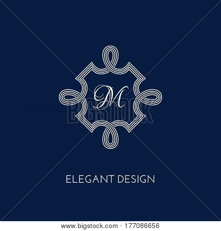 Stylish and elegant monogram design template. Vector illustration.