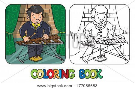 Coloring book of funny musician or xylophone player. Profession series. Children vector illustration.