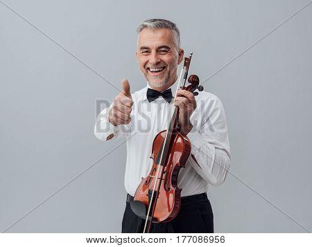 Cheerful Violinist Portrait