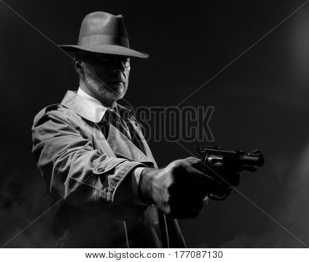 Spy Agent Pointing A Gun