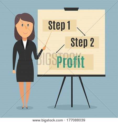 Businesswoman gives a presentation. Vector illustration in a flat style