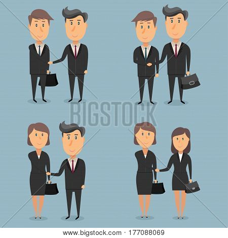 Businessmen and businesswomen shaking hands. Vector illustration in a flat style