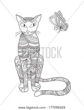 Hand drawn ornamental cat in zen style with butterfly for decorate stationary dishes porcelain ceramics adult coloring book. eps 10