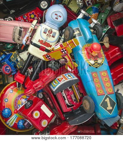 a large colection of old toys