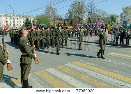 Tyumen Russia - May 9. 2009: Participants of the Military Parade of the Victory in the Great Patriotic War