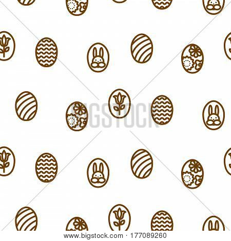 Easter outline icon seamless vector pattern. Line style monochrome eggs background.