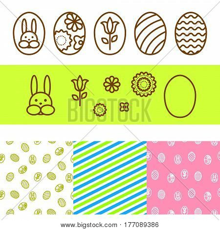 Easter outline eggs, bunny and florals vector icons. Pattern line set.