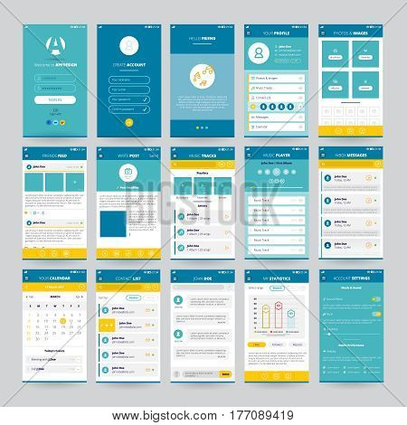 Set of mobile screens with UI for applications including music player photos and messages isolated vector illustration