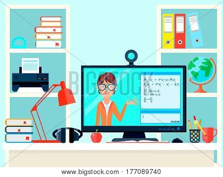 E-learning distance teacher training composition with remote teaching video call domestic workplace with computer screen vector illustration