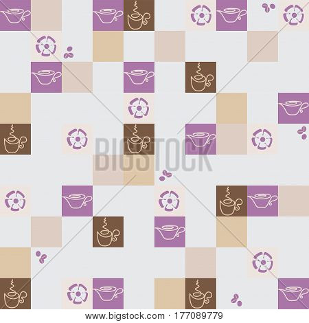Checkerboard. Coffee in squares. A light background. Seamless pattern. Design for textiles, tapestries, paper packaging, bags, napkins. Drawing in pastel colours.