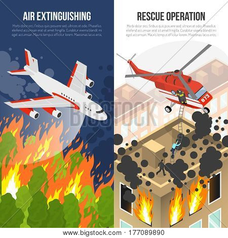 Fire department vertical banners with air extinguishing and rescue operation from burning building isolated vector illustration