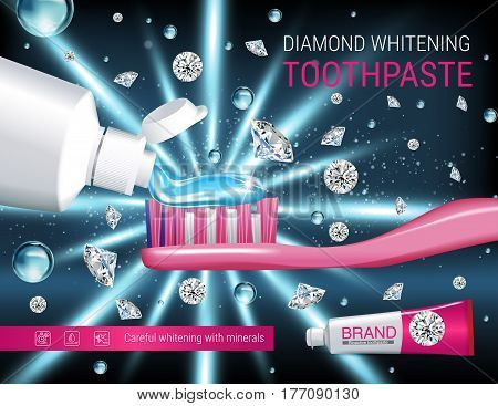 Whitening toothpaste ads. Vector 3d Illustration with toothpaste brush and dimonds. Poster with product.