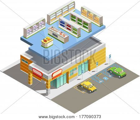 Supermarket store building exterior and interior ground floor composition isometric view with adjacent parking lot vector illustration