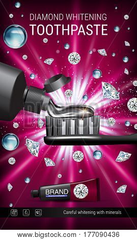 Whitening toothpaste ads. Vector 3d Illustration with toothpaste brush and diamonds. Vertical banner with product.