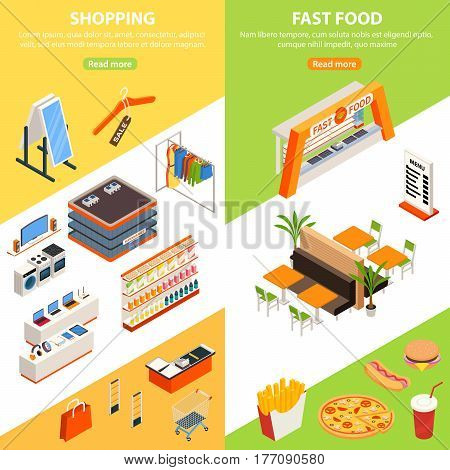 Shopping mall vertical banners with isometric hypermarket wear store and fast food court service cabinet images vector illustration