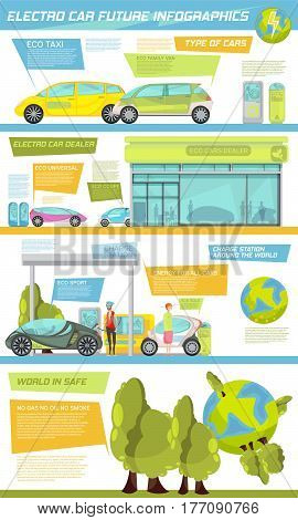 Flat infographics giving information about types of eco friendly electro cars their dealer and charge stations vector illustration