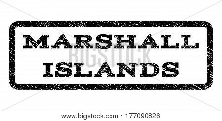 Marshall Islands watermark stamp. Text caption inside rounded rectangle with grunge design style. Rubber seal stamp with unclean texture. Vector black ink imprint on a white background.